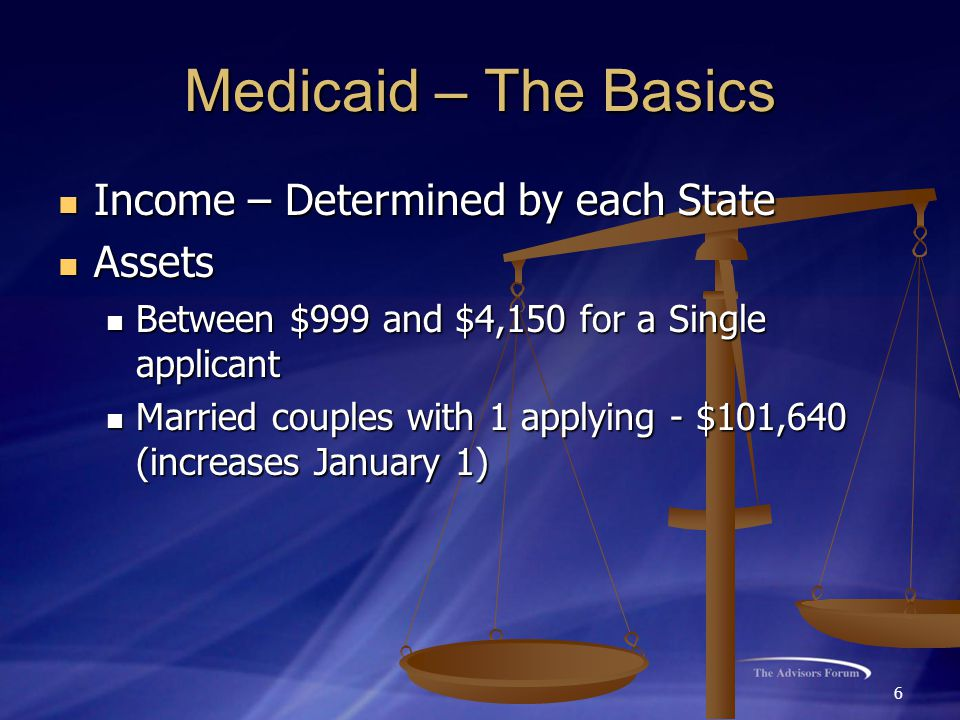 6 Medicaid – The Basics Income – Determined by each State Income – Determined by each State Assets Assets Between $999 and $4,150 for a Single applica
