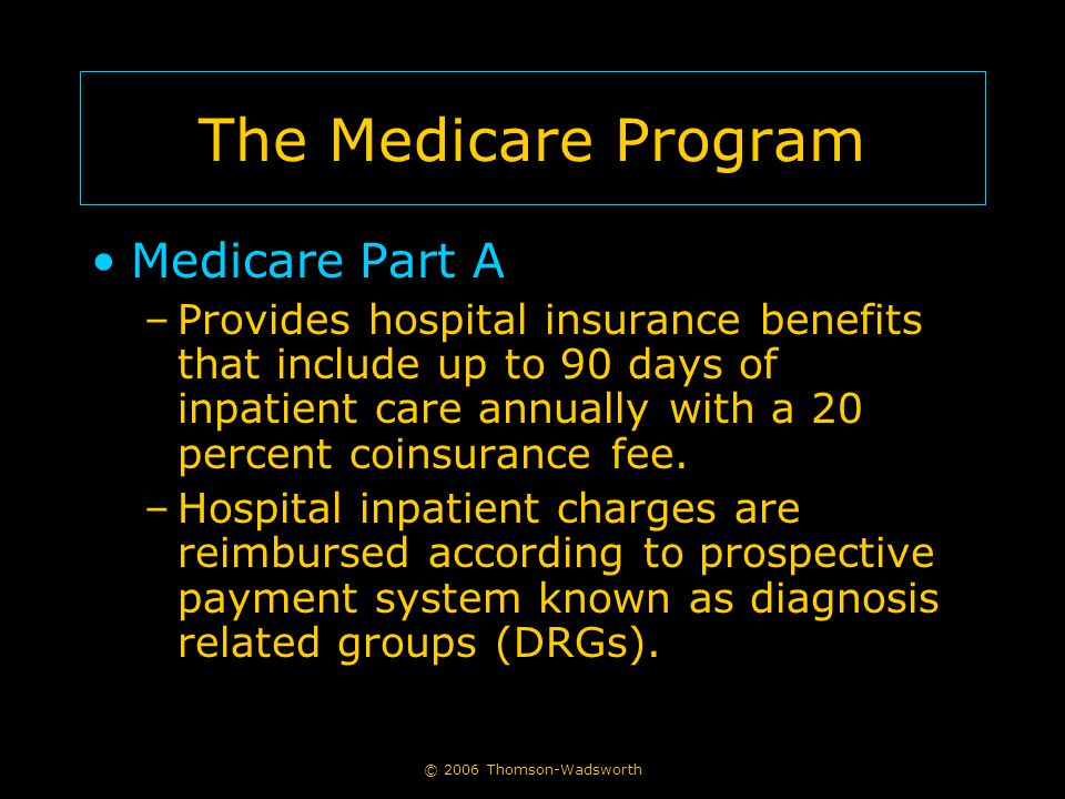 © 2006 Thomson-Wadsworth The Medicare Program Medicare Part A –Provides hospital insurance benefits that include up to 90 days of inpatient care annua