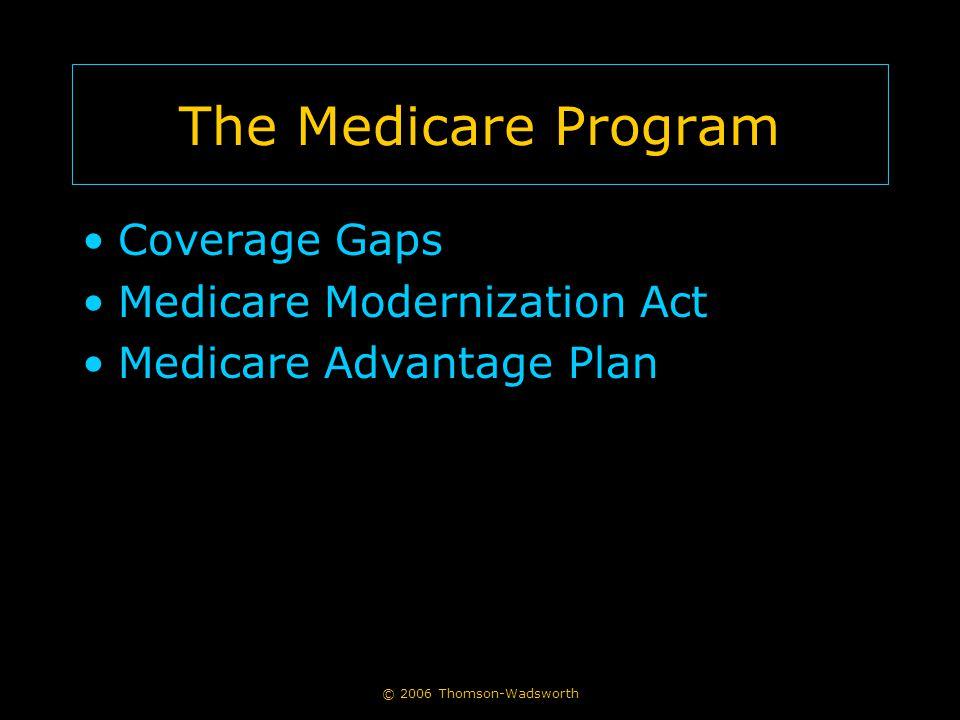 © 2006 Thomson-Wadsworth The Medicare Program Coverage Gaps Medicare Modernization Act Medicare Advantage Plan