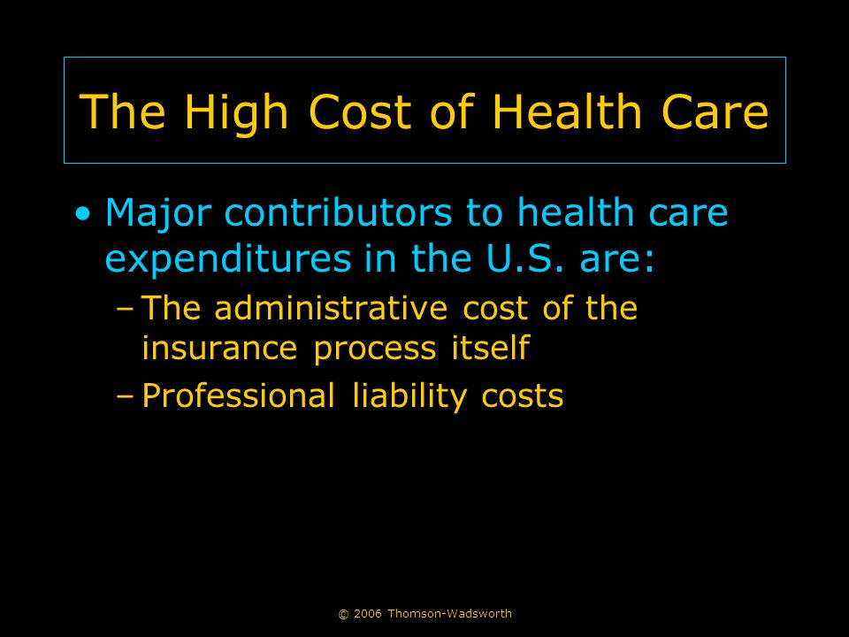 © 2006 Thomson-Wadsworth The High Cost of Health Care Major contributors to health care expenditures in the U.S.