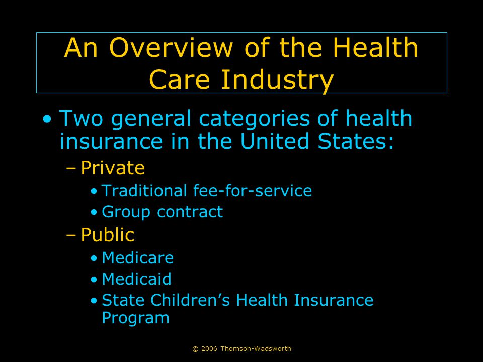 © 2006 Thomson-Wadsworth An Overview of the Health Care Industry Two general categories of health insurance in the United States: –Private Traditional