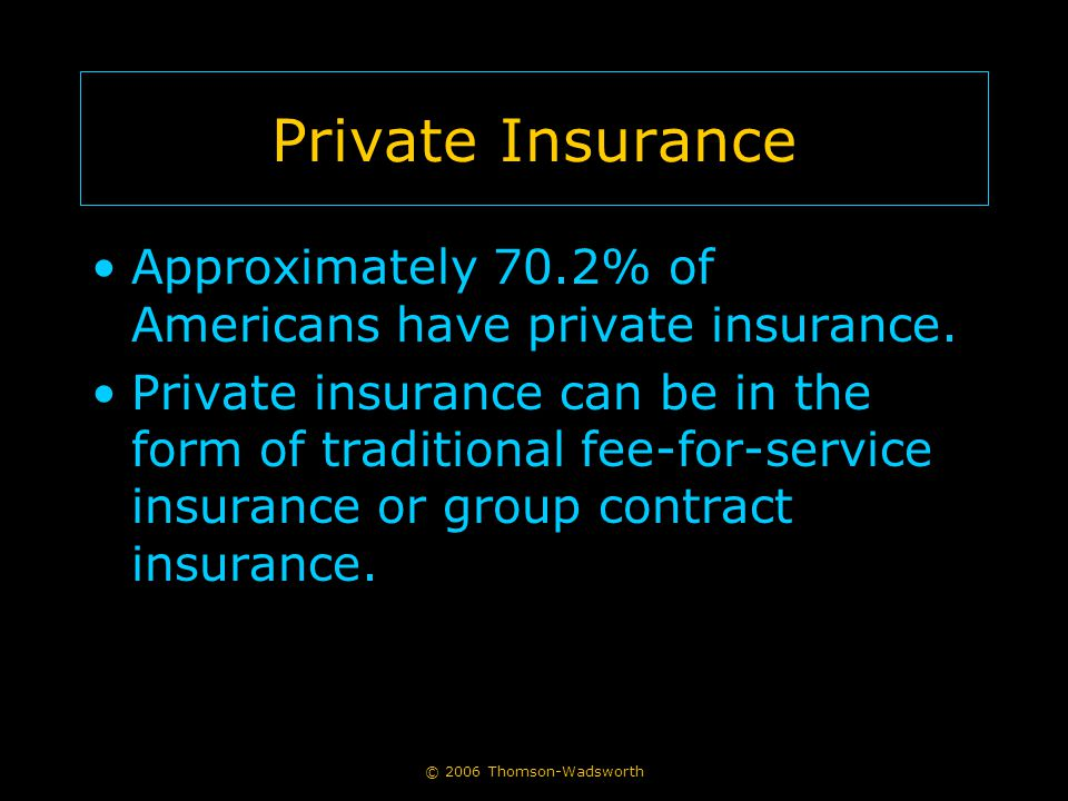 Private Insurance Approximately 70.2% of Americans have private insurance. Private insurance can be in the form of traditional fee-for-service insuran