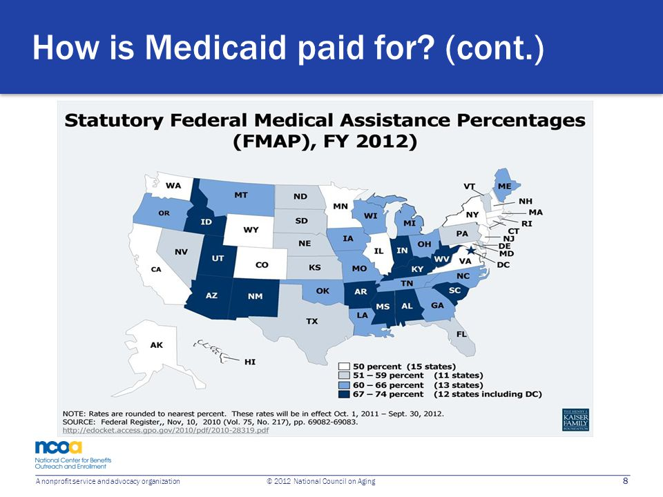 8 A nonprofit service and advocacy organization © 2012 National Council on Aging How is Medicaid paid for? (cont.)