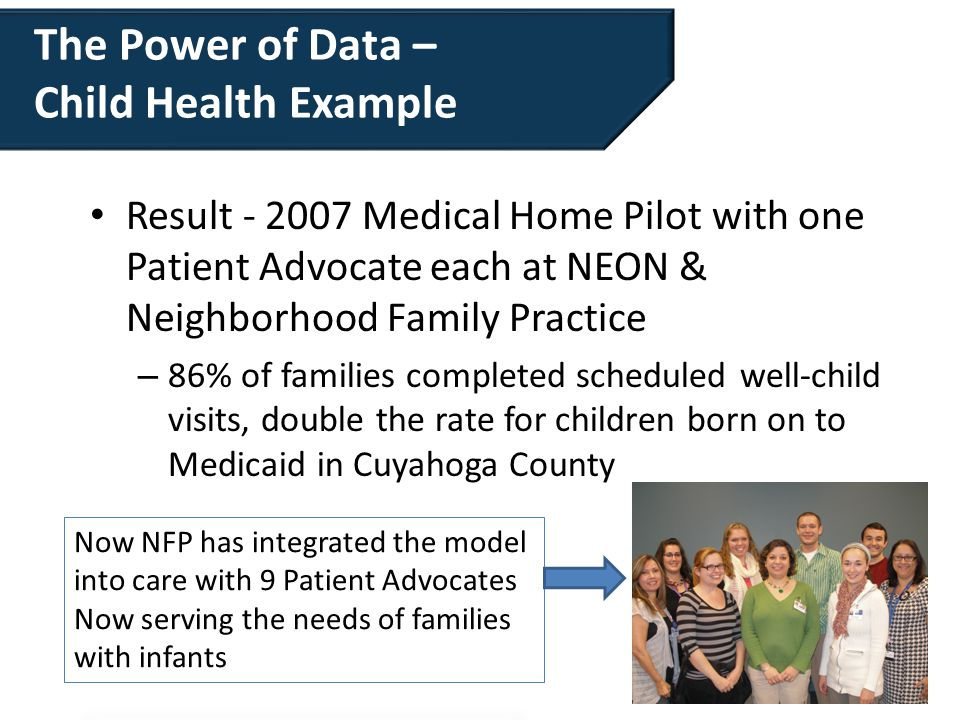 The Power of Data – Child Health Example Result - 2007 Medical Home Pilot with one Patient Advocate each at NEON & Neighborhood Family Practice – 86%