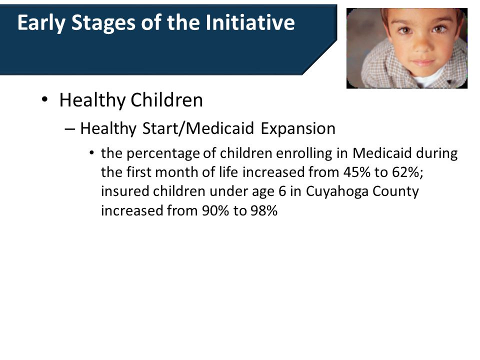 Early Stages of the Initiative Healthy Children – Healthy Start/Medicaid Expansion the percentage of children enrolling in Medicaid during the first m