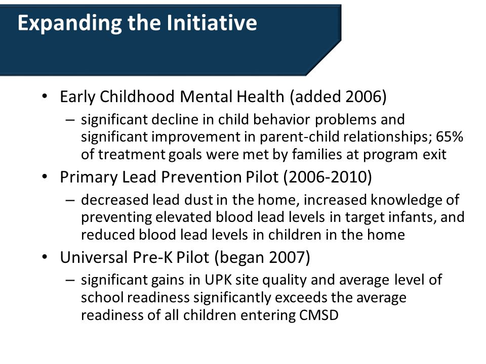 Expanding the Initiative Early Childhood Mental Health (added 2006) – significant decline in child behavior problems and significant improvement in pa