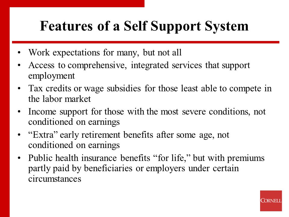 Features of a Self Support System Work expectations for many, but not all Access to comprehensive, integrated services that support employment Tax credits or wage subsidies for those least able to compete in the labor market Income support for those with the most severe conditions, not conditioned on earnings Extra early retirement benefits after some age, not conditioned on earnings Public health insurance benefits for life, but with premiums partly paid by beneficiaries or employers under certain circumstances