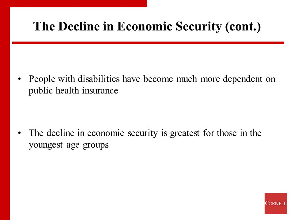 The Decline in Economic Security (cont.) People with disabilities have become much more dependent on public health insurance The decline in economic security is greatest for those in the youngest age groups