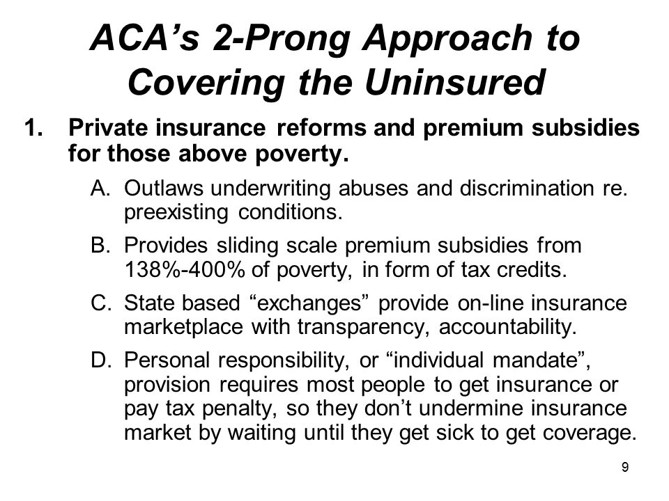 9 ACA's 2-Prong Approach to Covering the Uninsured 1.Private insurance reforms and premium subsidies for those above poverty.