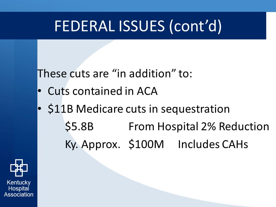 FEDERAL ISSUES (cont'd) These cuts are in addition to: Cuts contained in ACA $11B Medicare cuts in sequestration $5.8B From Hospital 2% Reduction Ky.