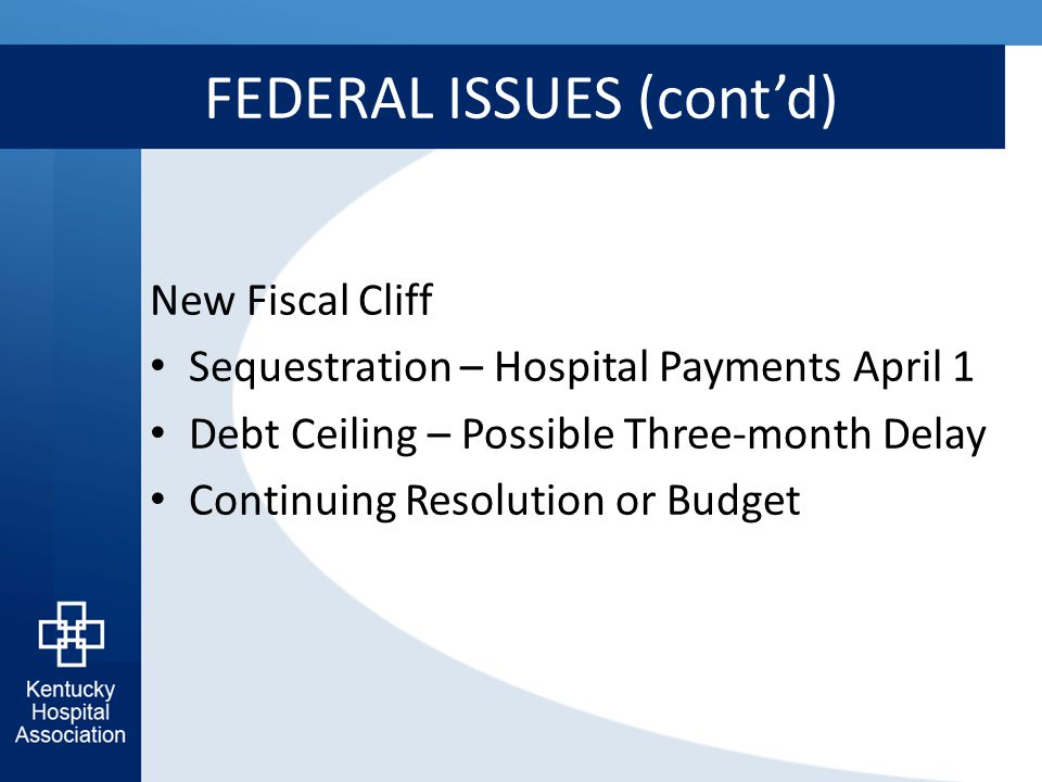 FEDERAL ISSUES (cont'd) New Fiscal Cliff Sequestration – Hospital Payments April 1 Debt Ceiling – Possible Three-month Delay Continuing Resolution or