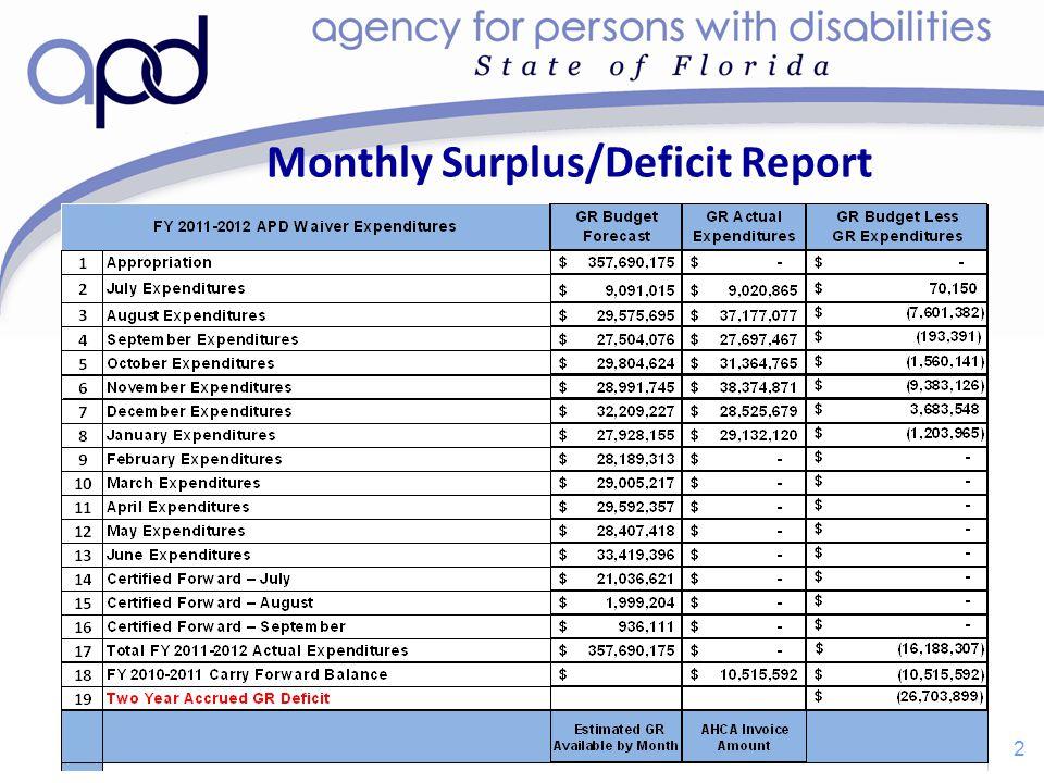 Monthly Surplus/Deficit Report 2 2