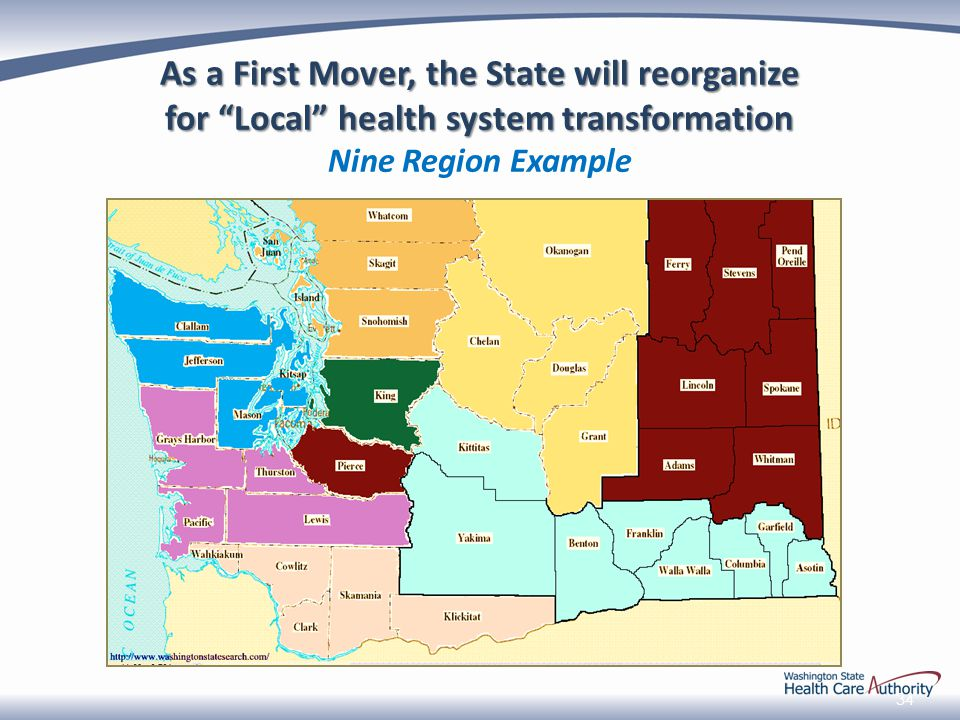 34 As a First Mover, the State will reorganize for Local health system transformation for Local health system transformation Nine Region Example