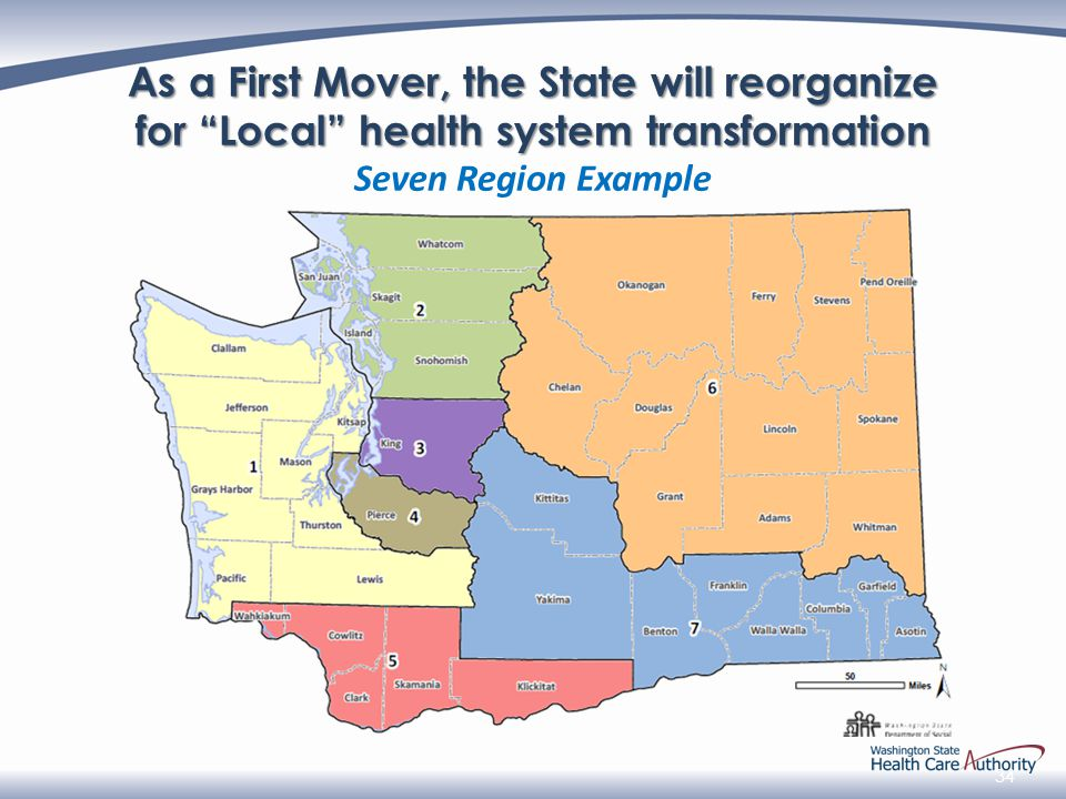 34 As a First Mover, the State will reorganize for Local health system transformation Seven Region Example