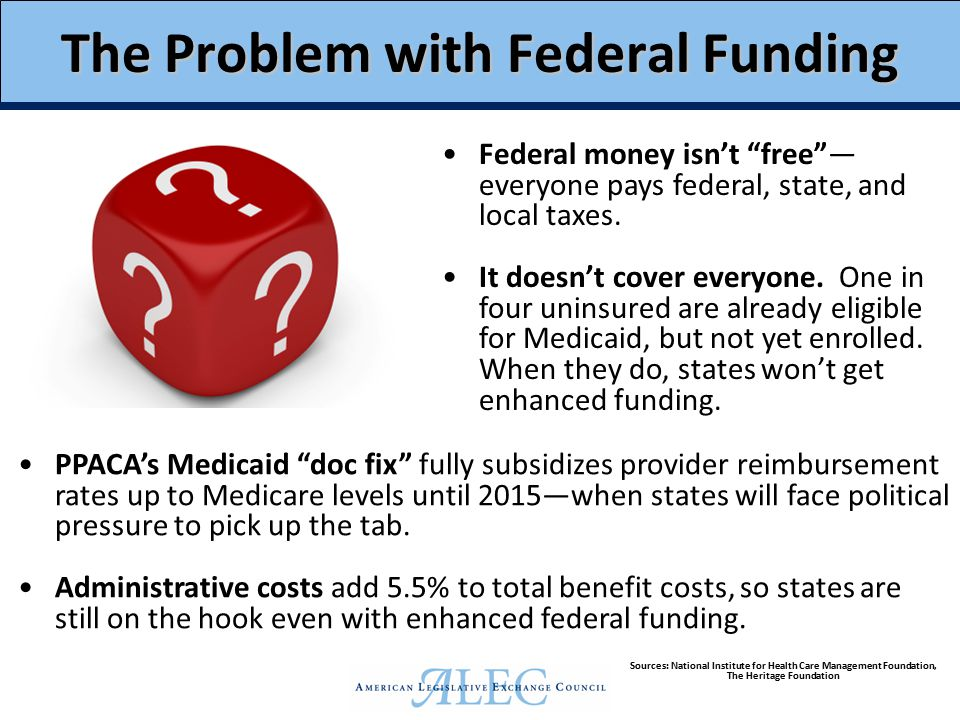 The Problem with Federal Funding Federal money isn't free — everyone pays federal, state, and local taxes.