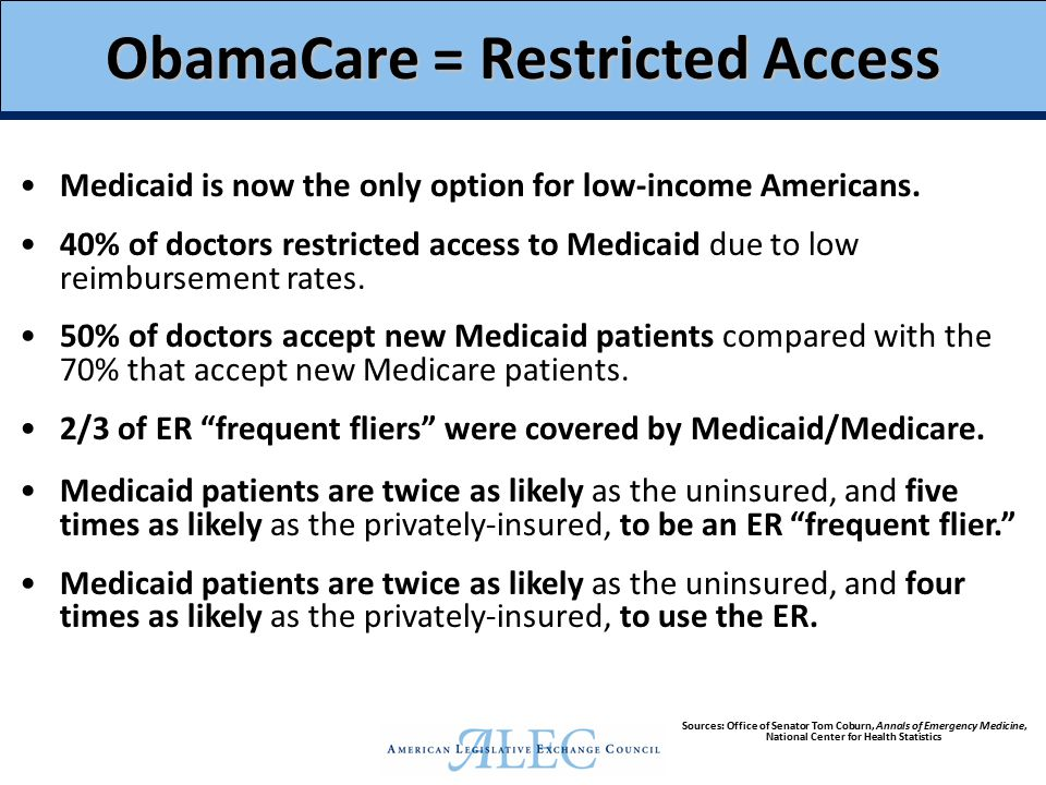 ObamaCare = Poor Health Outcomes Medicaid patients who need surgery are 13% more likely to die than the uninsured, and 97% more likely to die than those with private insurance.