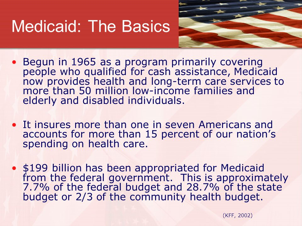 Medicaid: The Basics Begun in 1965 as a program primarily covering people who qualified for cash assistance, Medicaid now provides health and long-ter