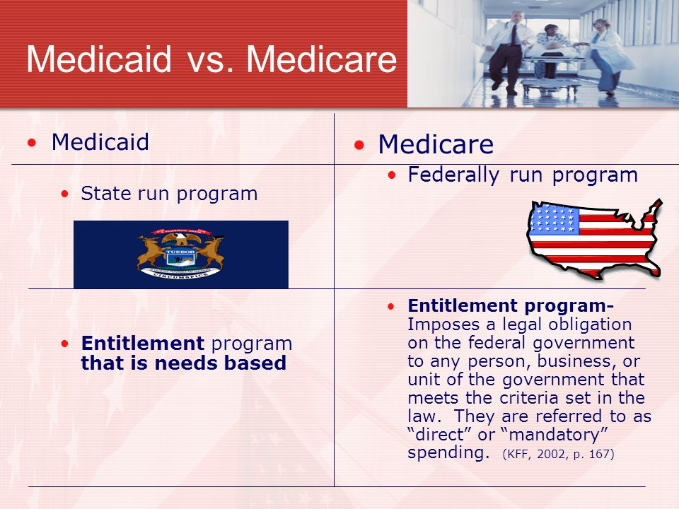 Medicaid vs. Medicare Medicaid State run program Entitlement program that is needs based Medicare Federally run program Entitlement program- Imposes a