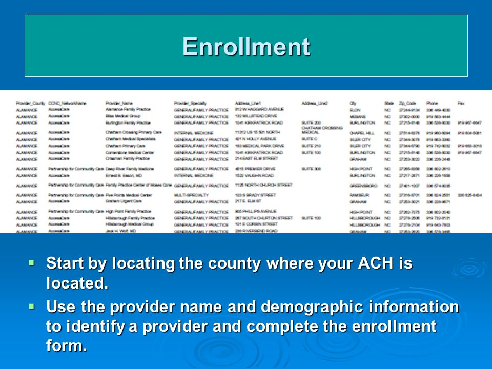 Enrollment  Start by locating the county where your ACH is located.