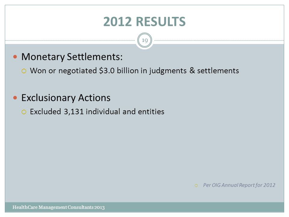 2012 RESULTS HealthCare Management Consultants 2013 19 Monetary Settlements:  Won or negotiated $3.0 billion in judgments & settlements Exclusionary