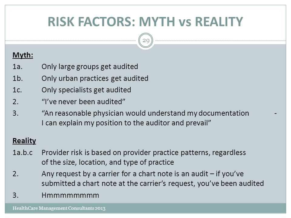 RISK FACTORS: MYTH vs REALITY HealthCare Management Consultants 2013 29 Myth: 1a.Only large groups get audited 1b.Only urban practices get audited 1c.