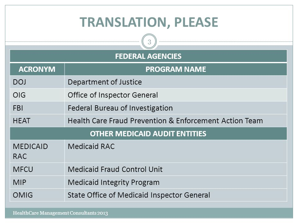 TRANSLATION, PLEASE HealthCare Management Consultants 2013 3 FEDERAL AGENCIES ACRONYMPROGRAM NAME DOJDepartment of Justice OIGOffice of Inspector Gene