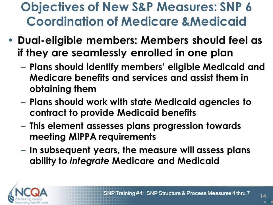 14 SNP Training #4: SNP Structure & Process Measures 4 thru 7 Objectives of New S&P Measures: SNP 6 Coordination of Medicare &Medicaid Dual-eligible members: Members should feel as if they are seamlessly enrolled in one plan – Plans should identify members' eligible Medicaid and Medicare benefits and services and assist them in obtaining them – Plans should work with state Medicaid agencies to contract to provide Medicaid benefits – This element assesses plans progression towards meeting MIPPA requirements – In subsequent years, the measure will assess plans ability to integrate Medicare and Medicaid