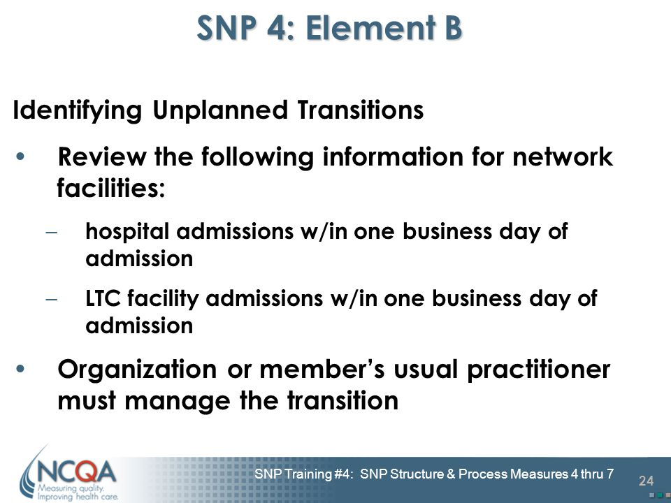 24 SNP Training #4: SNP Structure & Process Measures 4 thru 7 SNP 4: Element B Identifying Unplanned Transitions Review the following information for