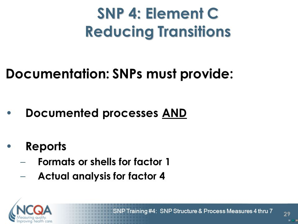29 SNP Training #4: SNP Structure & Process Measures 4 thru 7 SNP 4: Element C Reducing Transitions Documentation: SNPs must provide: Documented proce