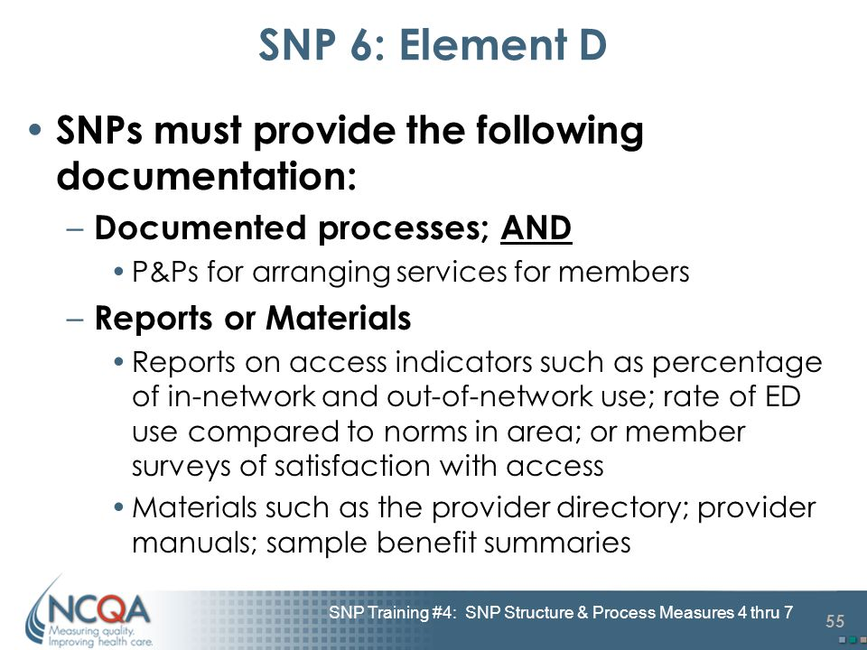 55 SNP Training #4: SNP Structure & Process Measures 4 thru 7 SNP 6: Element D SNPs must provide the following documentation: – Documented processes;