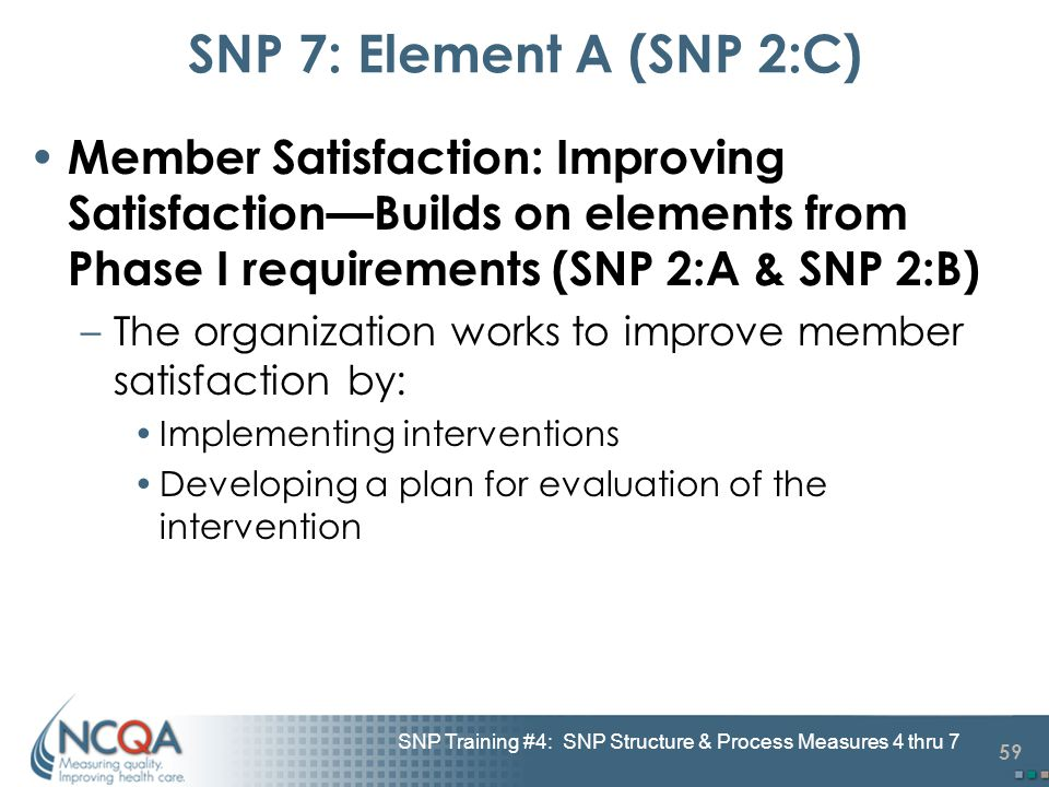 59 SNP Training #4: SNP Structure & Process Measures 4 thru 7 SNP 7: Element A (SNP 2:C) Member Satisfaction: Improving Satisfaction—Builds on element