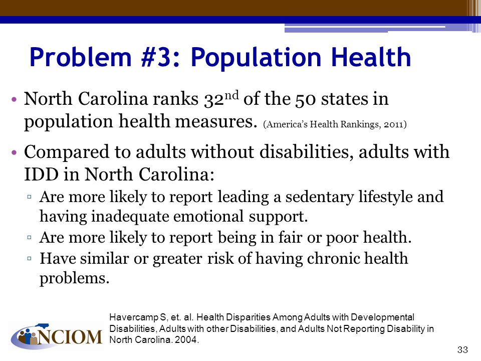 Problem #3: Population Health North Carolina ranks 32 nd of the 50 states in population health measures.