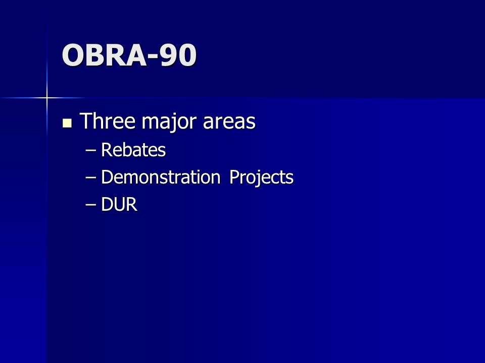 OBRA-90 Three major areas Three major areas –Rebates –Demonstration Projects –DUR
