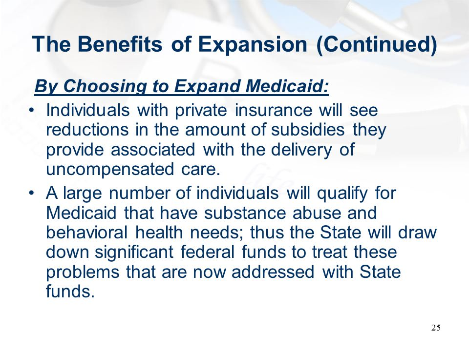 The Benefits of Expansion (Continued) By Choosing to Expand Medicaid: Individuals with private insurance will see reductions in the amount of subsidies they provide associated with the delivery of uncompensated care.