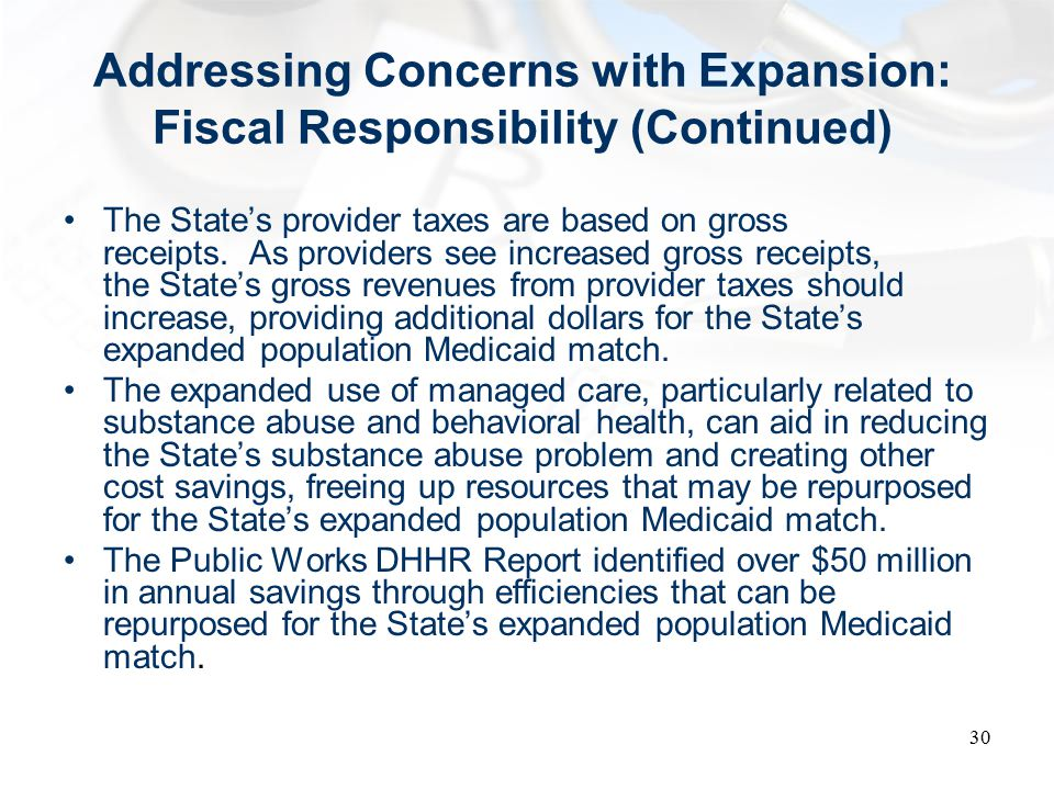 Addressing Concerns with Expansion: Fiscal Responsibility (Continued) The State's provider taxes are based on gross receipts.