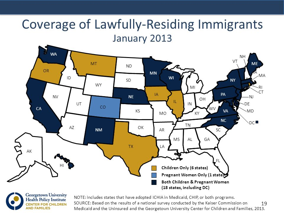 Coverage of Lawfully-Residing Immigrants January 2013 NOTE: includes states that have adopted ICHIA in Medicaid, CHIP, or both programs.