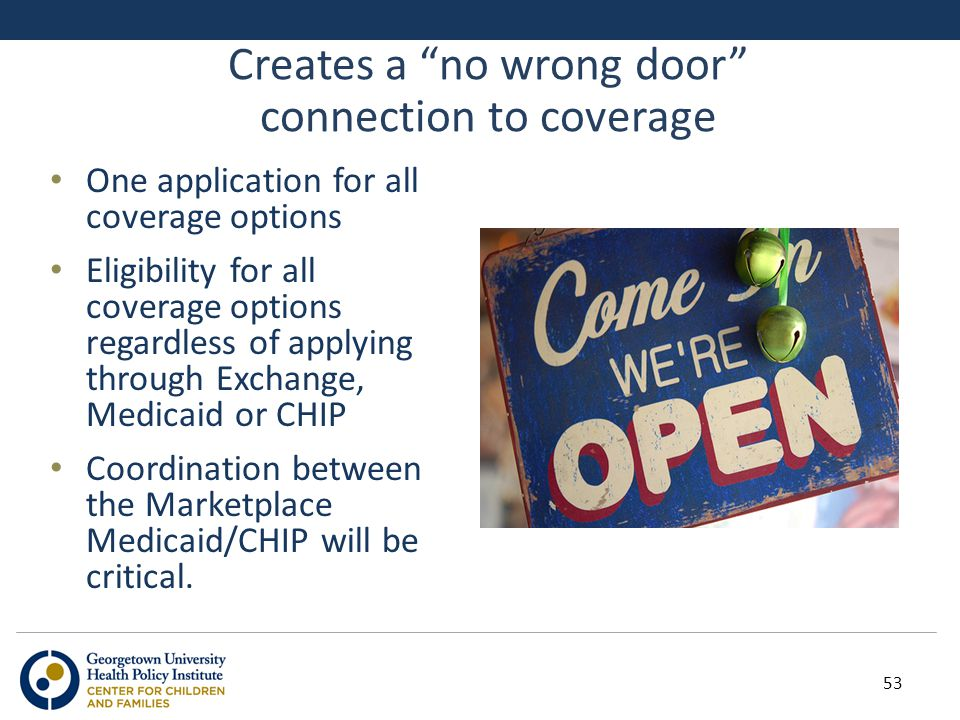 "Creates a ""no wrong door"" connection to coverage One application for all coverage options Eligibility for all coverage options regardless of applying"