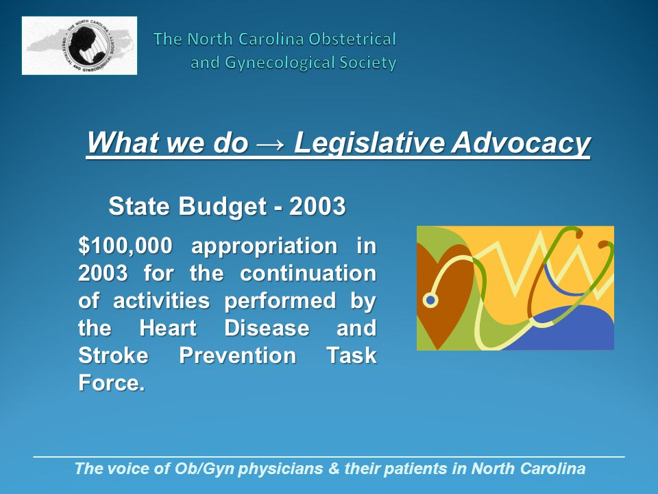 _________________________________________________________________ The voice of Ob/Gyn physicians & their patients in North Carolina State Budget - 200