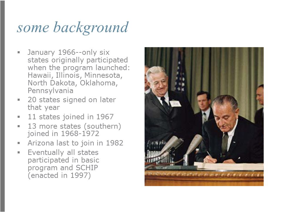 some background  January 1966--only six states originally participated when the program launched: Hawaii, Illinois, Minnesota, North Dakota, Oklahoma