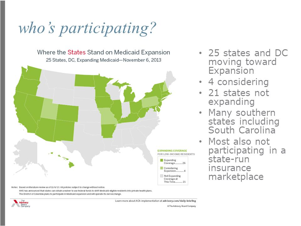 impact on business The average individual market and exchange premium will be $120 higher annually if SC does not expand Medicaid.
