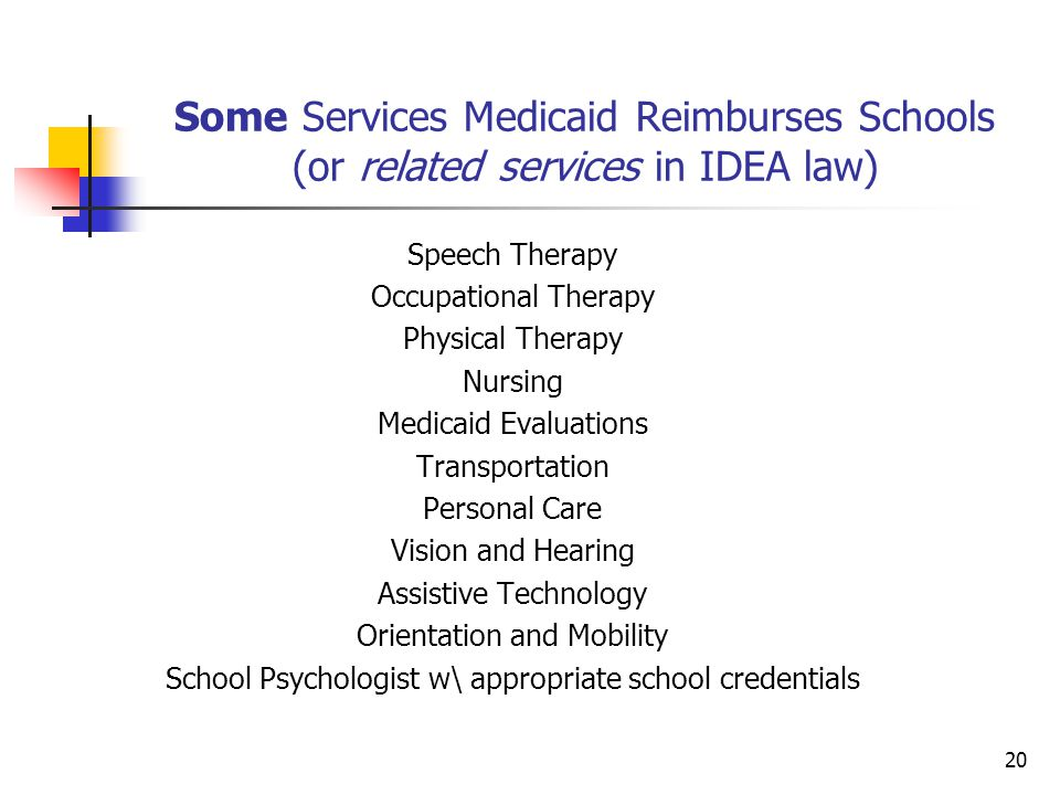 Some Services Medicaid Reimburses Schools (or related services in IDEA law) Speech Therapy Occupational Therapy Physical Therapy Nursing Medicaid Evaluations Transportation Personal Care Vision and Hearing Assistive Technology Orientation and Mobility School Psychologist w\ appropriate school credentials 20