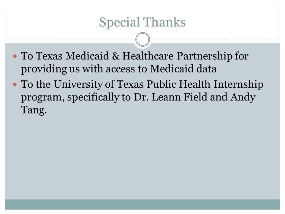 Special Thanks To Texas Medicaid & Healthcare Partnership for providing us with access to Medicaid data To the University of Texas Public Health Inter