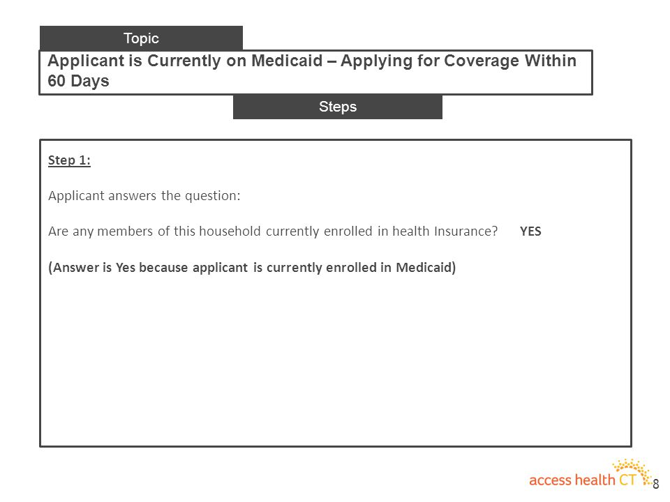 Step 1: Applicant answers the question: Are any members of this household currently enrolled in health Insurance.