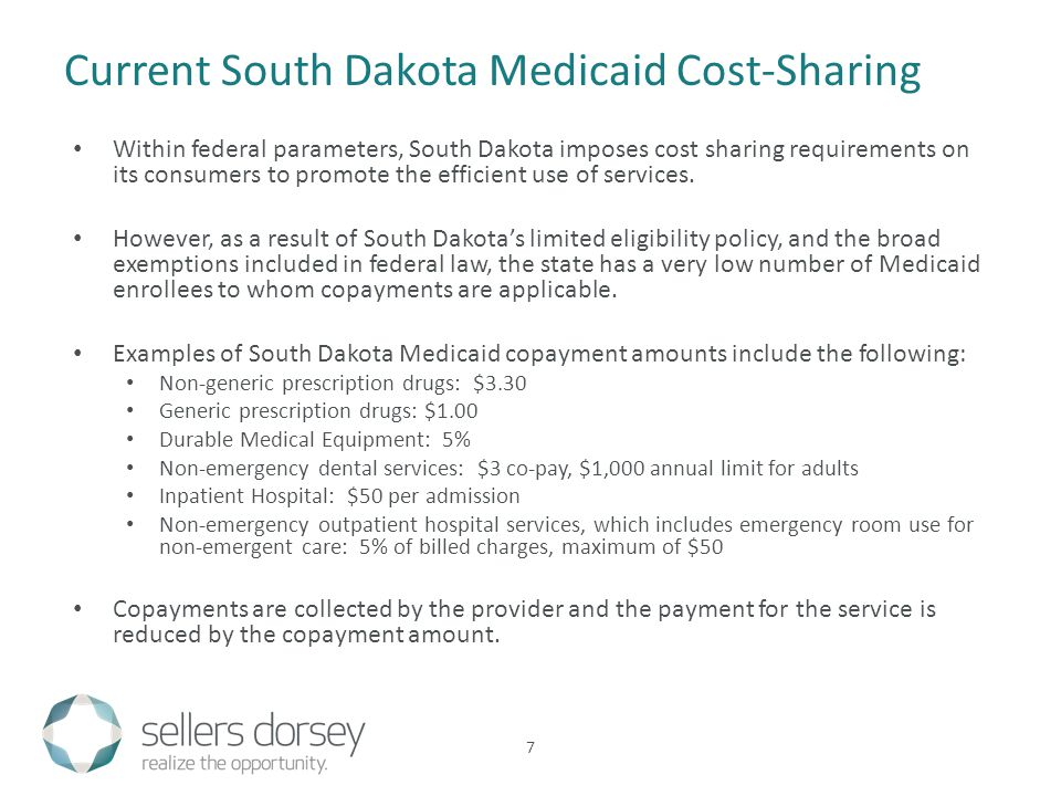 Within federal parameters, South Dakota imposes cost sharing requirements on its consumers to promote the efficient use of services. However, as a res
