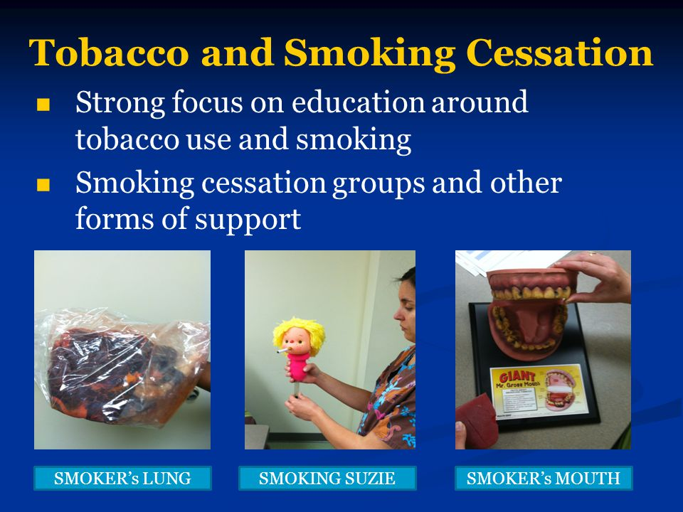 Tobacco and Smoking Cessation Strong focus on education around tobacco use and smoking Smoking cessation groups and other forms of support SMOKER's LU