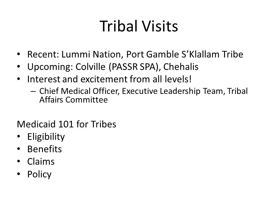 CD services to nonnatives For non-natives receiving CD services from a Tribal provider: 2013 and before Tribe pays 50% match to state Tribe receives 100% of encounter rate 2014 and beyond Newly eligible adults -> 100% FMAP of ___.