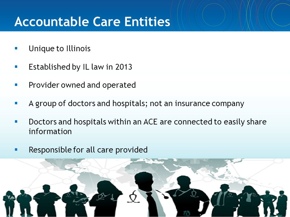 Accountable Care Entities  Unique to Illinois  Established by IL law in 2013  Provider owned and operated  A group of doctors and hospitals; not a