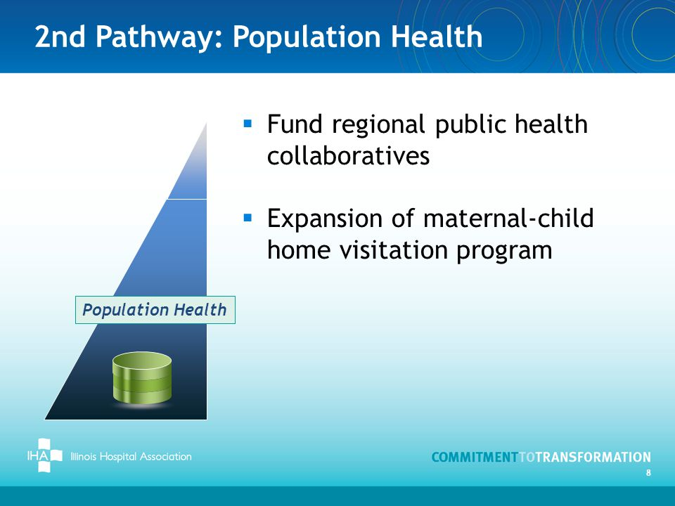 2nd Pathway: Population Health 8  Fund regional public health collaboratives  Expansion of maternal-child home visitation program Population Health