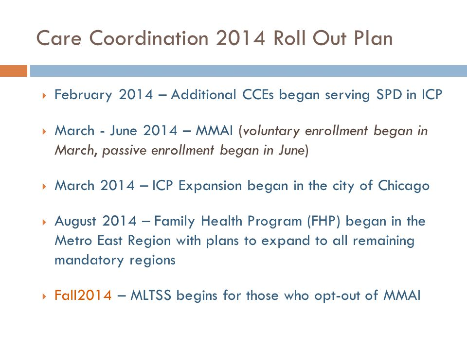 Care Coordination 2014 Roll Out Plan  February 2014 – Additional CCEs began serving SPD in ICP  March - June 2014 – MMAI (voluntary enrollment began in March, passive enrollment began in June)  March 2014 – ICP Expansion began in the city of Chicago  August 2014 – Family Health Program (FHP) began in the Metro East Region with plans to expand to all remaining mandatory regions  Fall2014 – MLTSS begins for those who opt-out of MMAI