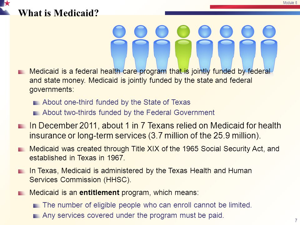 This Texas Medicaid curriculum was prepared by Betsy Goebel Jones, EdD Project Director Tim Hayes, MAM Project Designer Authors: Module 6 Betsy Goebel Jones, EdD David Trotter, MA Module 6 58